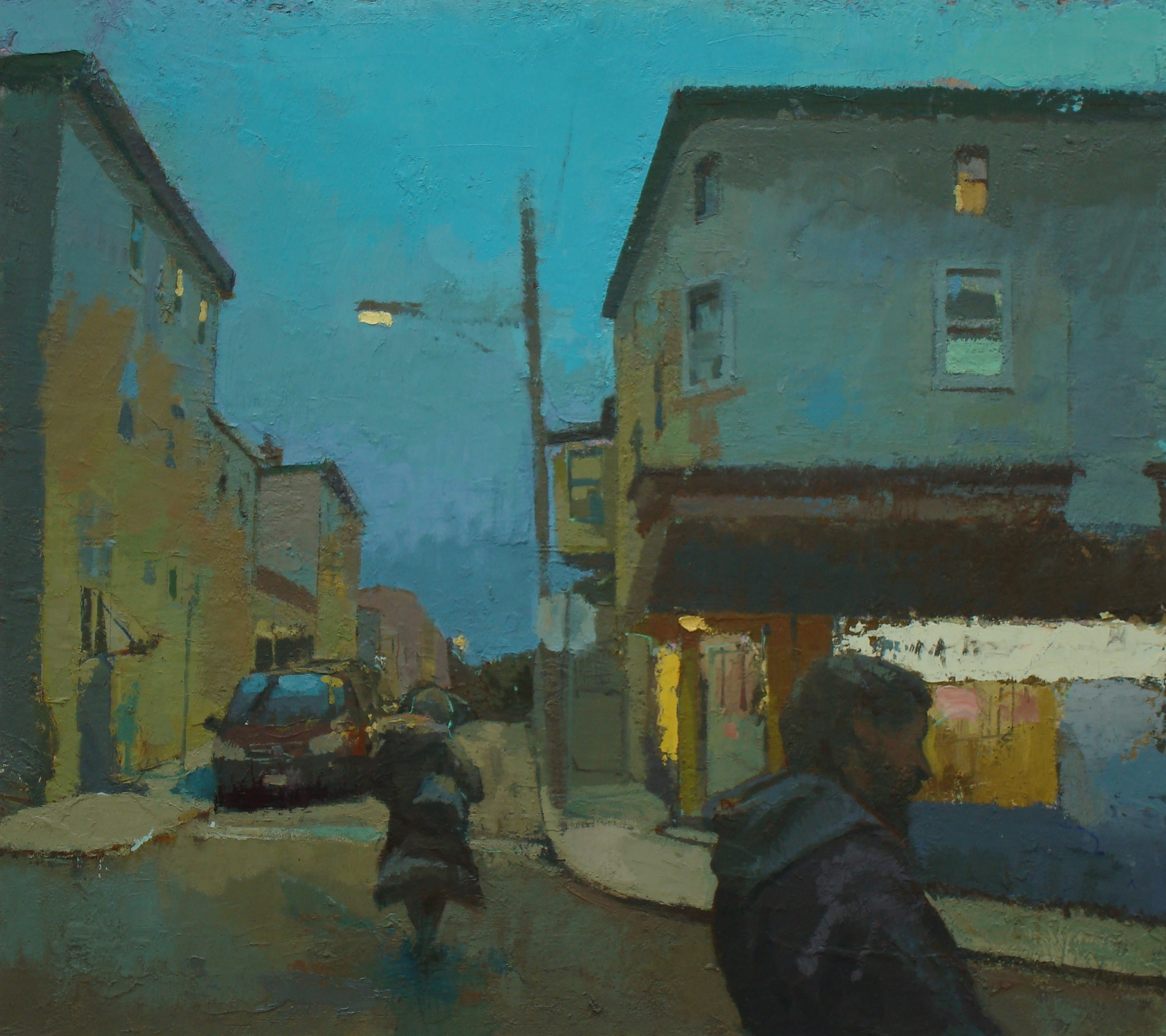 painter redd public relations corner store dusk oil on linen 24rdquo x 27rdquo 2014